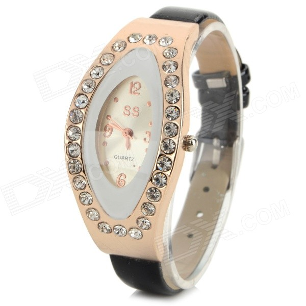 Women's Fashion Rhinestone Inlaid PU Band Analog Quartz Watch - Black + Golden (1 x 626) women s stylish rhinestone inlaid pu leather band analog quartz wrist watch pink 1 x 626