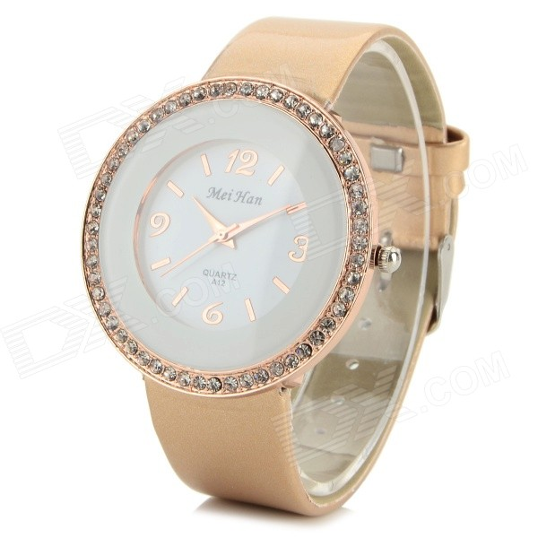 MeiHan Women's Fashion Rhinestone Inlaid PU Band Analog Quartz Watch - White + Golden (1 x 626) women s stylish rhinestone inlaid pu leather band analog quartz wrist watch pink 1 x 626