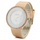 MeiHan Women's Fashion Rhinestone Inlaid PU Band Analog Quartz Watch - White + Golden (1 x 626)