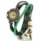 Women's Fashion Anchor Ornament PU Band Analog Quartz Bracelet Watch - Green + Bronze (1 x 626)