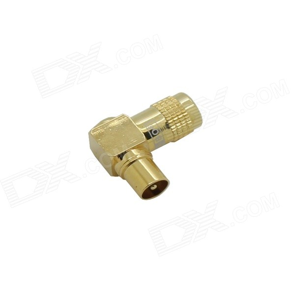 Right Angle TV Coaxial Male Soldering Type Plug Connector - Gold areyourshop sale 10pc slide on adapter f tv plug male to f tv female connector right angle push on w