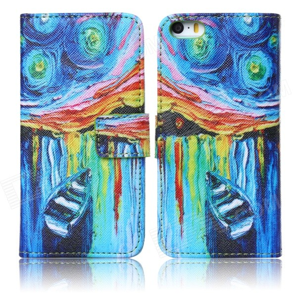 DF-022 Starry Sky Pattern Protective Case w/ Stand + Card Slots for IPHONE 5 / 5S - Multicolored starry sky flexible silicone case for iphone 6 6s 4 7 inch white
