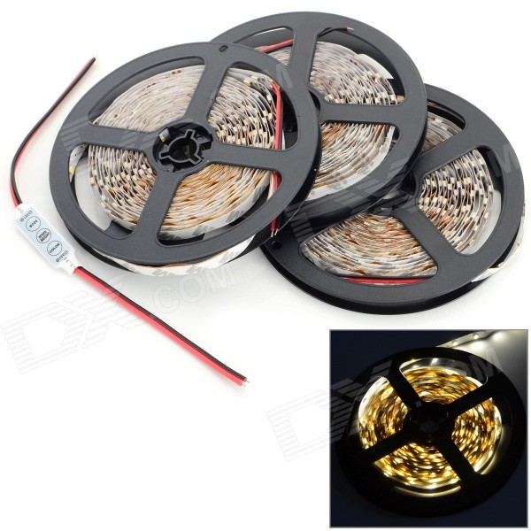 JRLED 72W 4000lm 3200K 900-SMD 3528 LED Warm White Light Strips - Black + White (15M / 3 PCS)