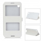 Silk Print Pattern Flip-open PU + PC Cover Case w/ Window for HTC 816 - White