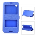 Silk Print Pattern Flip-open PU + PC Cover Case w/ Window for HTC 816 - Blue
