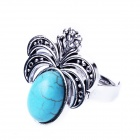 EQute Fashionable Vintage Adjustable Artificial Turquoise Decorated Ring - Blue + Silver