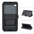Silk Print Pattern Flip-open PU + PC Cover Case w/ Window for HTC 816 - Black