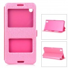 Silk Print Pattern Flip-open PU + PC Cover Case w/ Window for HTC 816 - Pink