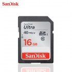 Genuine Sandisk Class 10 SDHC Memory Card R:40MB/S W:20MB/S - Black (16GB)