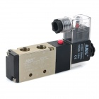 "AKS 4v210-08 2-Position 5-Port 4-Way 1/4"" 220V Air Pneumatic Solenoid Valve - Black + Champagne"