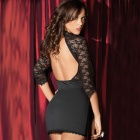 Women's Fashionable Sexy Deep V-Neck Hollowed Back Lace Sleep Slim Dress - Black
