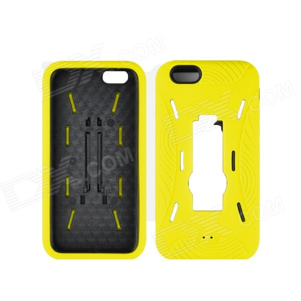 Angibabe 2 in 1 Hybrid Hard PC Case Soft Silicone Back Cover for IPHONE 6 4.7 - Yellow loopee good heat dissipation hollow mesh pc hard back cover for iphone 6 gold