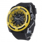 Super Speed V6 V0193 Men's Fashionable Silicone Strap Big Round Dial Quartz Watch - Black + Orange