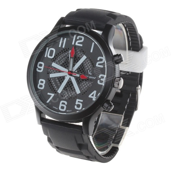 Super Speed ​​V6 V0198 Heren Modieuze Silicone Band Grote Ronde Dial Quartz Horloge - Zwart + Wit