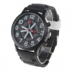 Super Speed V6 V0198 Men's Fashionable Silicone Band Big Round Dial Quartz Watch - Black + White