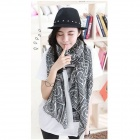 Women's Fashionable Square Patterned Totem Voile Scarves Shawl - Black (160 x 80cm)