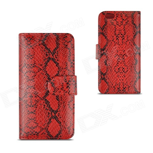 Angibabe Snake Skin Pattern Flip-open PU Leather Case w/ Card Slots for IPHONE 6 4.7 - Red angibabe snake skin pattern flip open pu leather case with card slots for iphone 6 4 7 pink