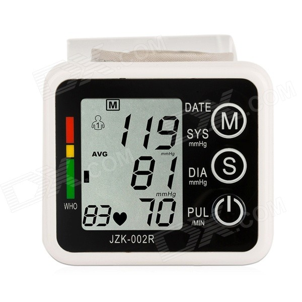 Jianzhikang jzk-002ASY Wrist Style Electronic Blood Pressure Monitor - White (2 x AAA) 1 7 lcd pulse scanning wrist watch blood pressure monitor blue white 2 x aaa