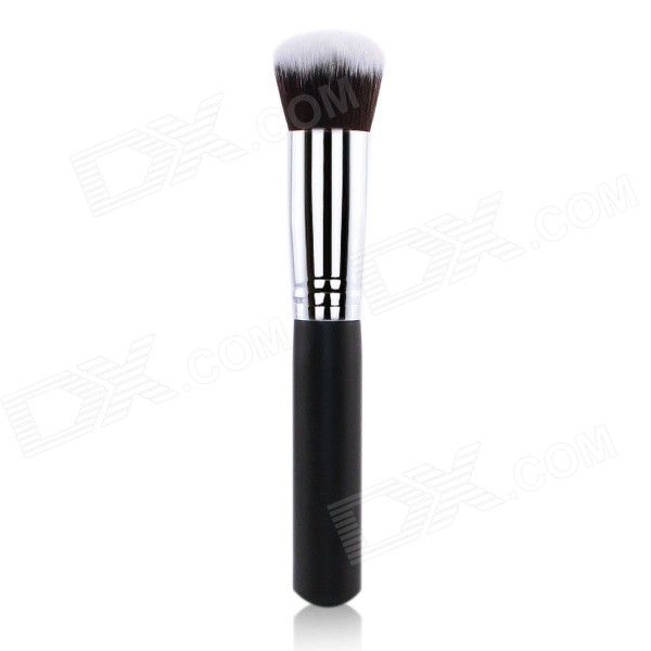 F80 Portable Professional Cosmetic Makeup Wood + Fiber Flat Foundation Brush - Black