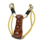 Damofenglang Zinc Alloy Metal Handle Slingshot - Brown + Black