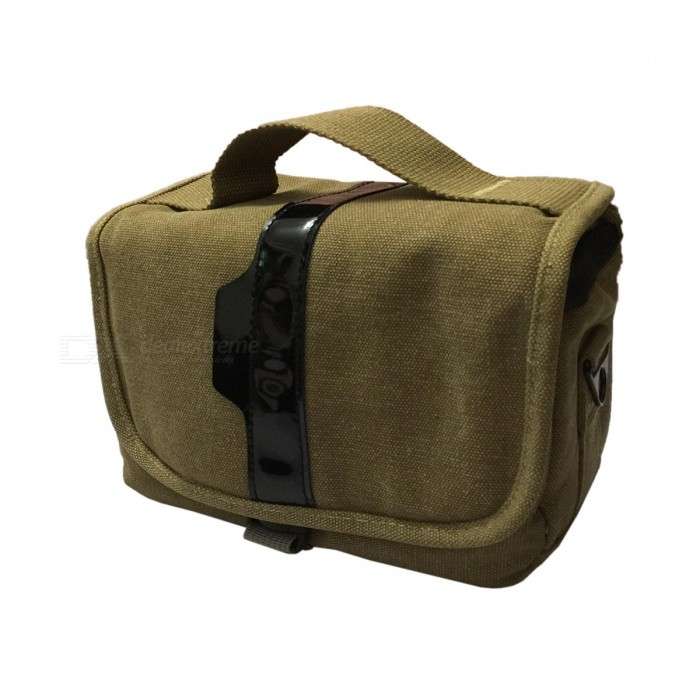 NEW-T-01-BR Delicate One-shoulder Canvas DSLR Bag - Brown (21 x 15 x 16cm)