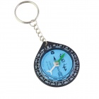 Key Ring Mini Compass for KAABA Positioning / QIBLA Finder - Black + Blue