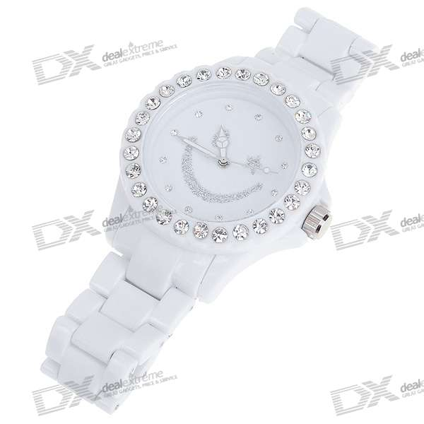 Smiling Face Crystal Fashion Quartz Wrist Watch - White (1*377)