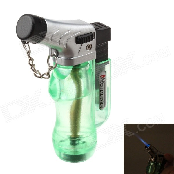 6776  Fashion Butane Windproof Lighter - Green + Silver