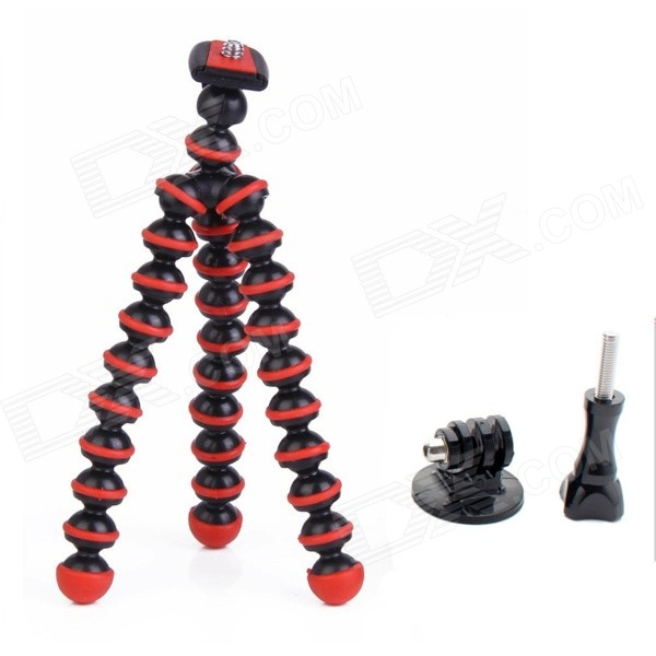 JUSTONE 6.5 Mini Octopus Tripod for Camera / GoPro Hero 4 / 3 / 3+ / SJ4000 / SJ5000 - Black + Red