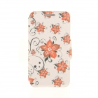 """Kinston Flowers Pattern PU Leather Cover for IPHONE 6 4.7"""" - Black + Orange"""