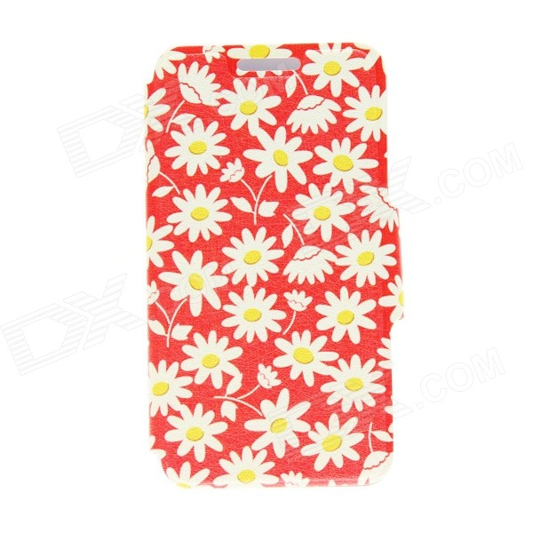 Kinston Floral Pattern PU Leather Full Body Cover Case w/ Stand for IPHONE 6 PLUS 5.5 - White + Red kinston a fat cat pattern pu leather full body case cover stand for iphone 6 plus white grey