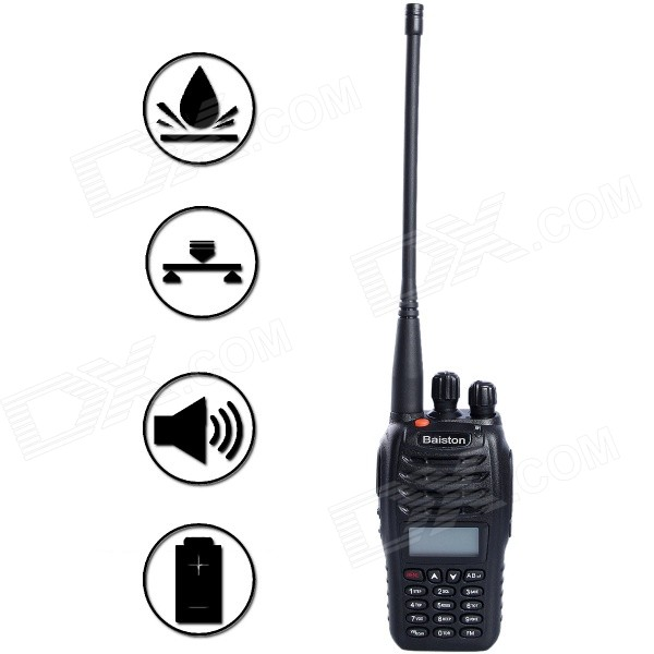 Baiston BST UV6D Waterproof 8W 99-Channel Dual-Band Walkie Talkie - Black