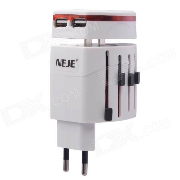 NEJE Multi-in-1 Universal Travel Adapter & Dual USB Charger - White 2016 south africa travel adapter type m large 15 amp bs 546 2 port multi outlet black color 1 to 2 eu au usa plug 15a