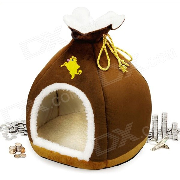 High Quality Fashion Money Bag Style Pet Bed - Brown + White + Yellow (Size M)