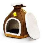 High Fashion Qualité de l'argent style sac Pet Bed - Brown + Blanc + Jaune (Taille M)