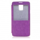Solid Color PU Leather Case w/ Viewing Window for Samsung Galaxy Note 4 - Purple