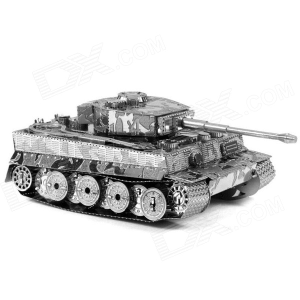 3D Metal Tiger Tank Assembled Educational Toy for Kids / Children - Antique Silver + Black 12mp trail camera gsm mms gprs sms scouting infrared wildlife hunting camera hd digital infrared hunting camera