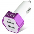 ES-04 Compact Universal 5V 1A/2.1A Dual USB Output Car Charger for IPHONE / Cellphone - Purple
