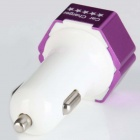 ES-04 Compact Universal 5V 1A / 2.1A Dual USB-uitgang Car Charger voor iPhone / mobiele telefoon - Paars