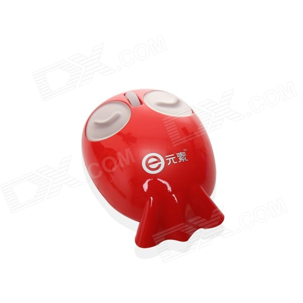 Fish Style Laptop USB Mouse with Retractable Cable - Red