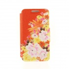 "Kinston Flowers Pattern PU Leather Cover Case for IPHONE 6 4.7"" - Orange + Yellow"