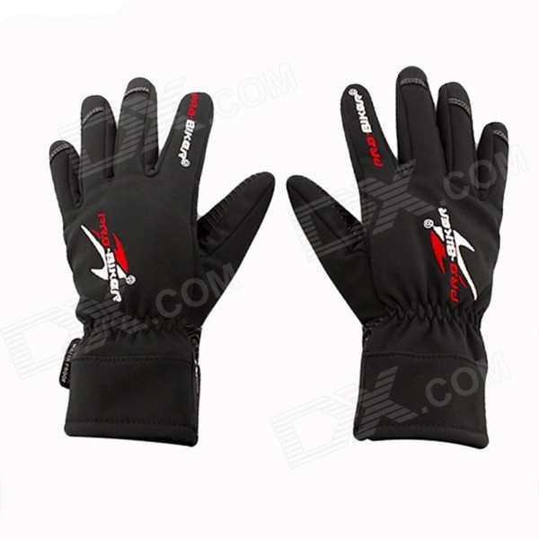 PRO-BIKER DXMS-05 Motorcycle / Bicycle Warm PU Leather + Nylon Racing Gloves - Black (Pair / XL)