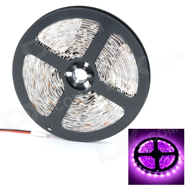 HML 36W 420nm 1300lm 300 x 3528 SMD LED Pink/Purple Light Strip - White + Yellow (12V / 5M) hml b28 water resistant 36w 1600lm 670nm 300 smd 3528 led red light strip black dc 12v 5m