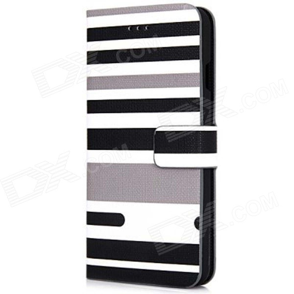 "Stripe Pattern PU Leather Flip Case w/ Stand + Card Slot + Auto Sleep for IPHONE 6 4.7"" - Black"