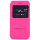 "Smart Touch Slide Answer Phone Design PU Leather Flip Cases w/ Stand for IPHONE 6 4.7"" - Deep Pink"