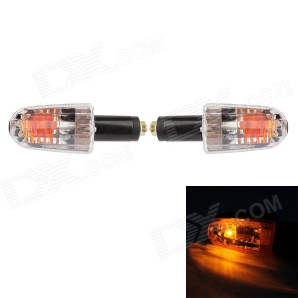 MZ 5W 80LM Yellow Light Rectangular Halogen Steering Lamp for Motorcycle - Black (2PCS)