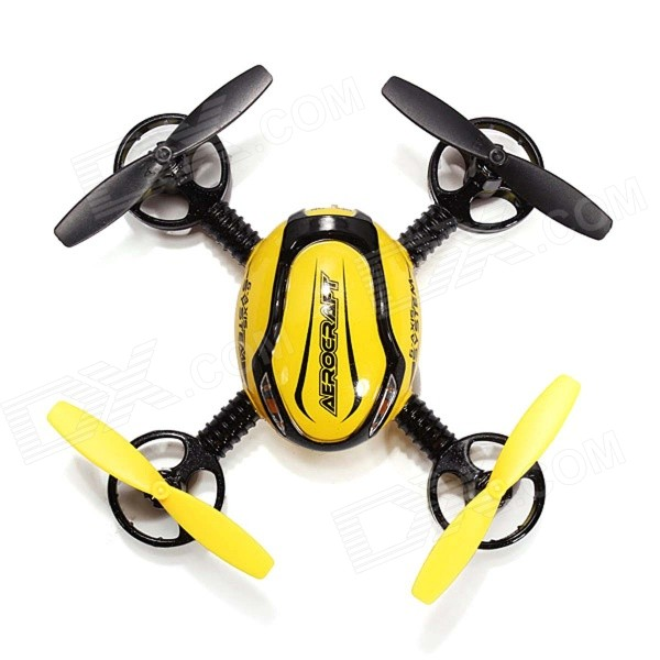 JXD 388 2.4GHz 4-CH 6-Axis R/C Quadcopter Toy w/ 4 Lights - Yellow + Black wltoys wl r4 2 9 lcd 6 axis multi function remote controller for r c toy black 4 x aa