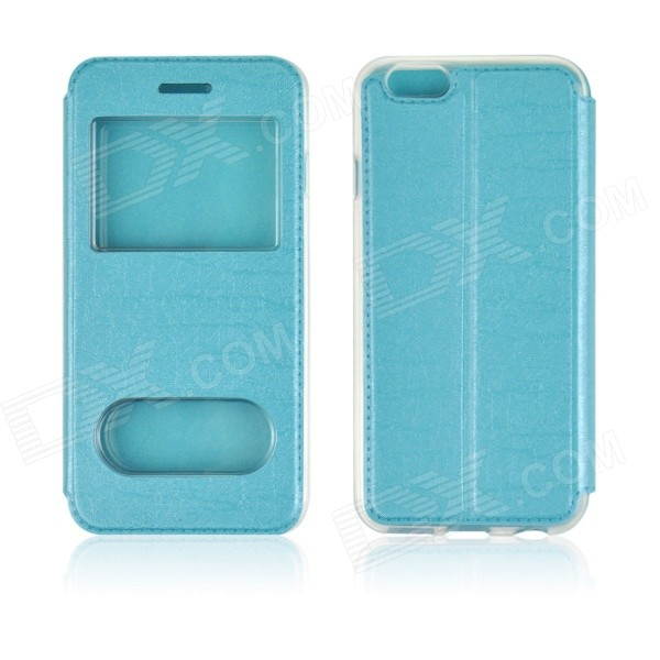 Angibabe Double View Window Protective PU Leather Case Cover w/ Stand for 4.7 IPHONE 6 - Blue roar korea for iphone 7 4 7 diary view window two tone leather case orange