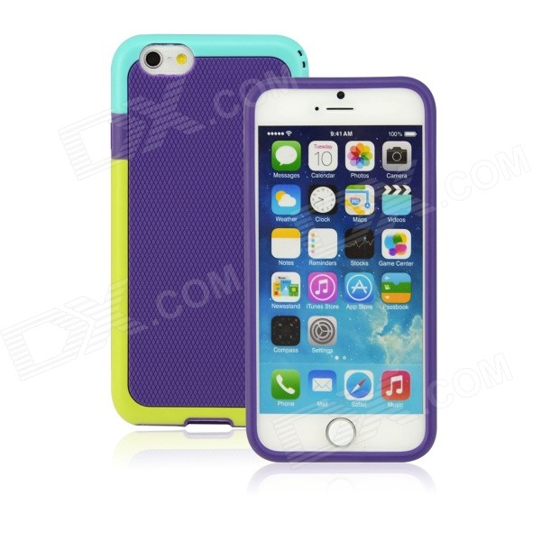SMKJ Stylish Protective Silicone Back Case for IPHONE 6 4.7 - Purple + Green smkj protective plastic silicone back case w stand for iphone 6 4 7 black