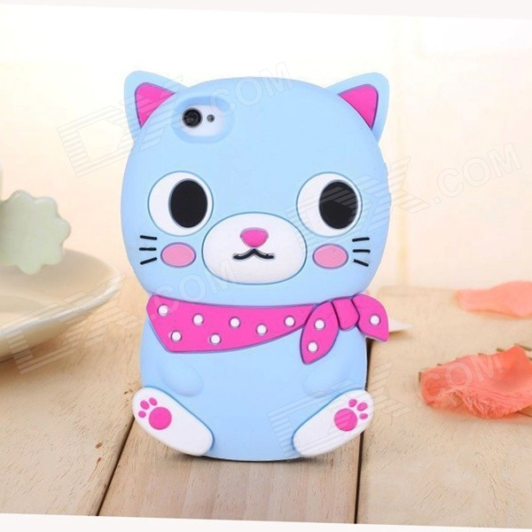 ZIQIAO Cute Cartoon Cat Shaped Protective Soft Silicone Back Case for IPHONE 4 / 4S - Red + Blue cute 3d cartoon penguin style protective silicone soft back case for iphone 4 4s green white